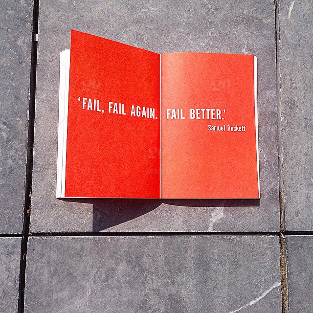 "Open Book that says ""Fail, Fail Again. Fail Better"""