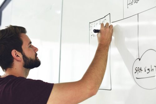 Man with Beard writing on white board